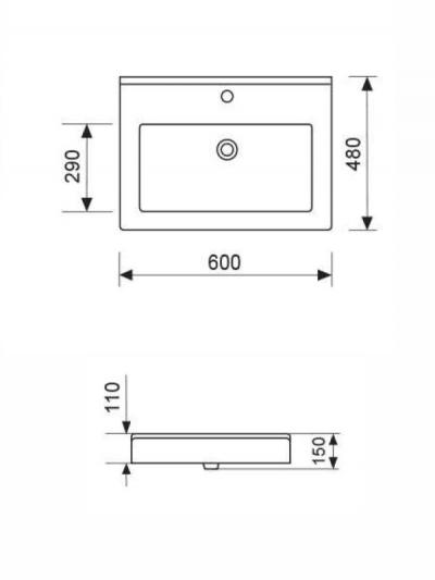 Lavabo da appoggio EFFE cm. 60x48 altezza 11